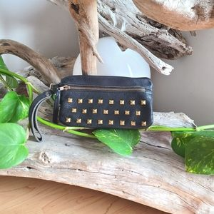Beautiful Black Leather Zip Clutch w Gold Studs